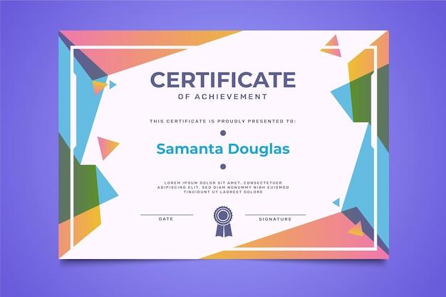 Плоский сертификат достижения шаблона