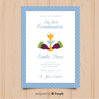 Flat chalice with grapes first communion invitation