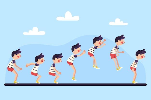 Fotogrammi di animazione di personaggi piatti