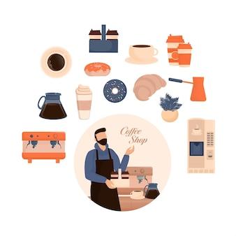 フラットキャラクターコーヒーショップバリスタ漫画の男性バリスタまたはメニューボードで立っているウェイター