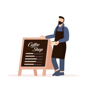 フラットキャラクターコーヒーショップバリスタベクトルイラストフラットデザイン漫画男性バリスタ