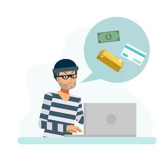 ハッカーの概念のフラットキャラクターのイラスト、男はお金の金のクレジットカードを盗むためにデータをハッキングしています。