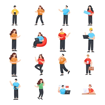 Flat character illustrations pack