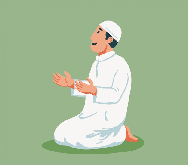 Flat character of moslem male  sit and pray.