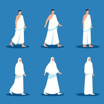 Плоский набор символов мусульманских паломников