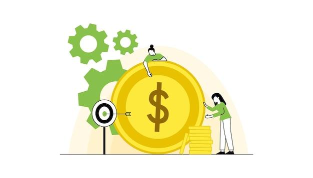 돈을 버는 플랫 캐릭터 비즈니스 및 금융 저축 돈 테마 경력 급여 수입