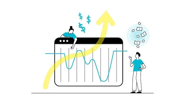 Flat characters making money business and finance saving money theme career salary earnings