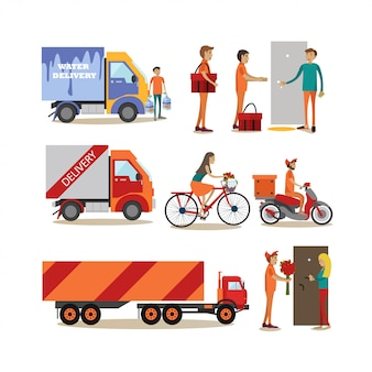 Flat characters set of food delivery people