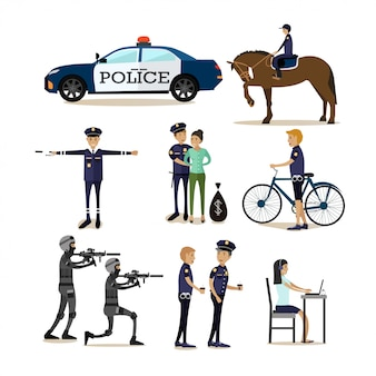 Flat characters set of policeman profession characters