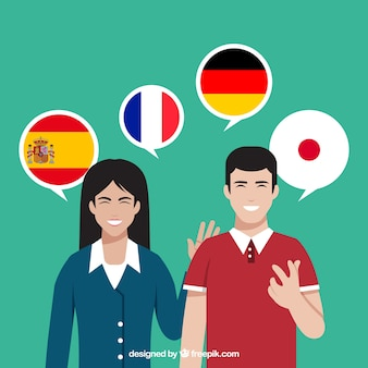 Flat characters speaking different languages