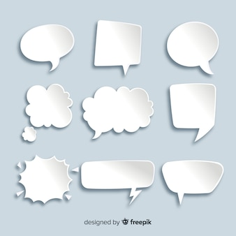 Flat chat bubble collection in paper style