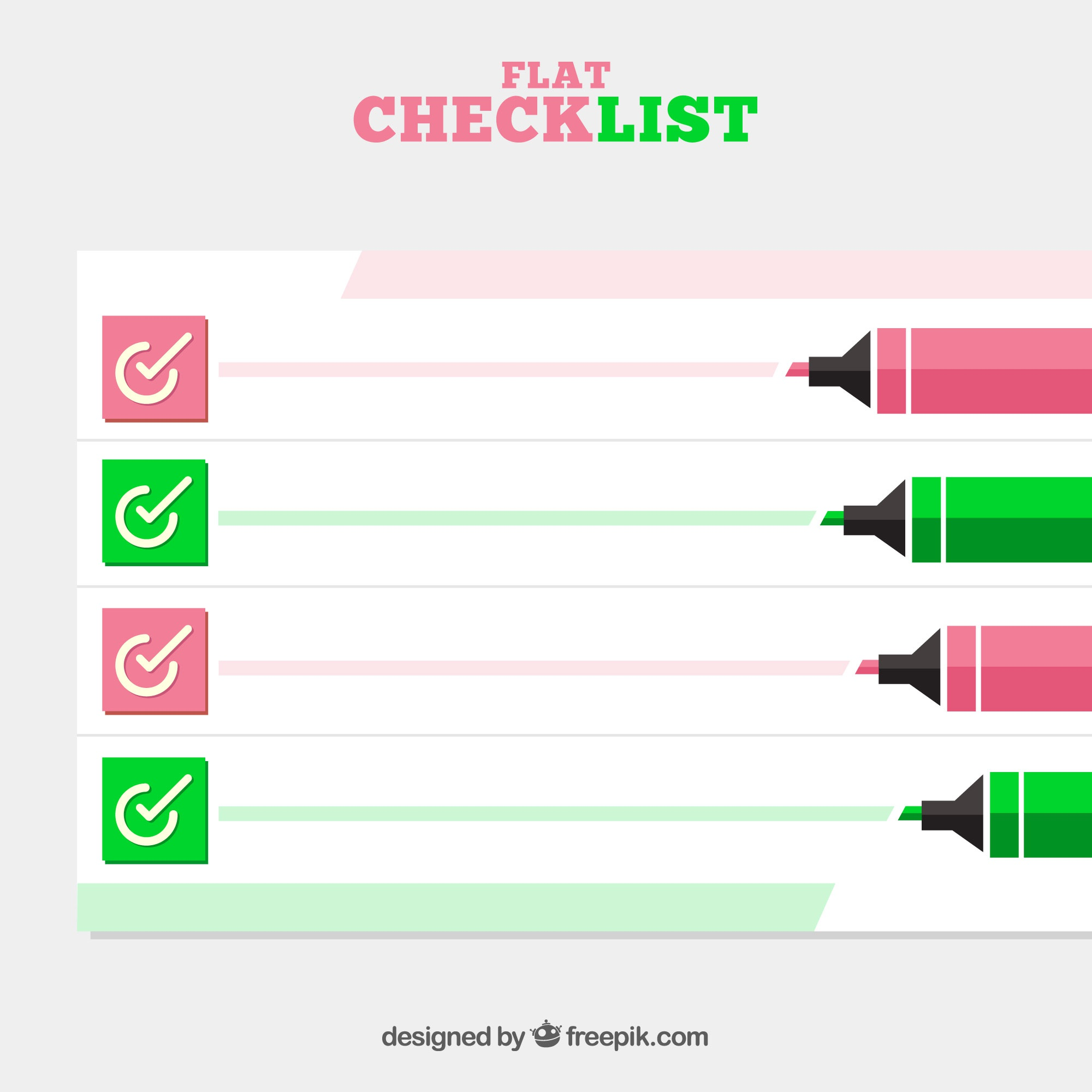 Flat checklist background with markers