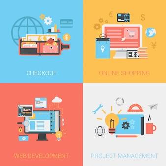 Flat checkout methods, online shopping, web development, project management concepts set.