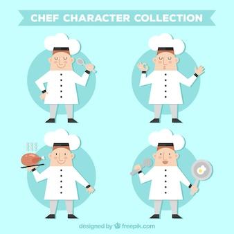 Collezione di personaggi piatti dello chef