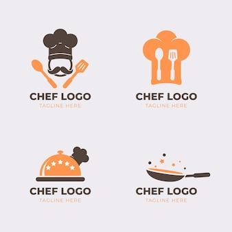 Плоская коллекция логотипов шеф-повара