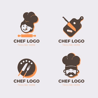플랫 요리사 로고 컬렉션