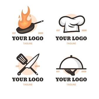 Flat chef logo collection