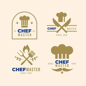 플랫 요리사 로고 템플릿 컬렉션