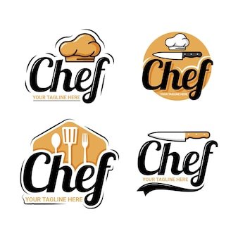 Flat chef logo template collection