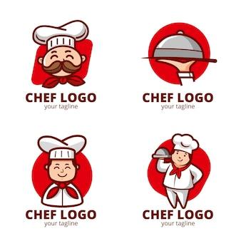Плоская коллекция шаблонов логотипа шеф-повара