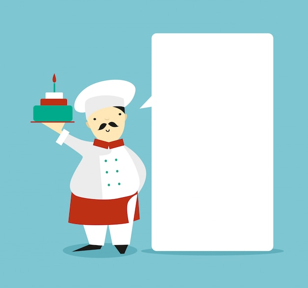 Flat chef with a cake talking