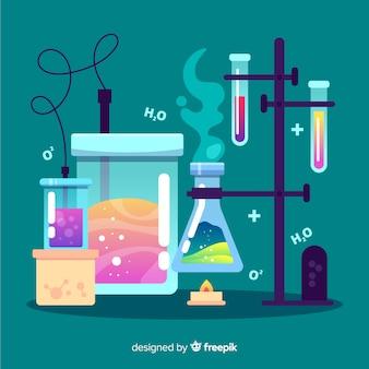 편평한 화학 화려한 배경