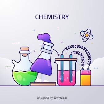 Плоский химия красочный фон