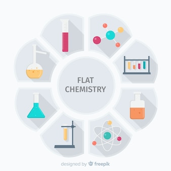 Flat chemistry colorful background