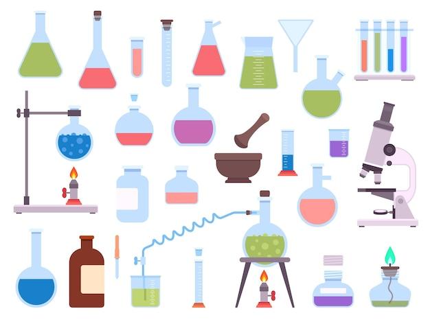 과학 실험을 위한 평평한 화학 실험실 유리 장비. 의료 실험실 비이커, 시험관, 현미경, 버너 및 플라스크 벡터 세트