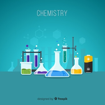 Flat chemistry laboratory with flasks