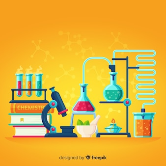 Flat chemistry yellow background