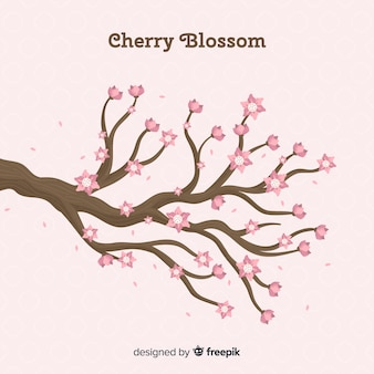 Flat cherry blossom background
