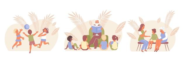 Плоский набор иконок для защиты детей с компанией играет в мяч, дети слушают истории из библии