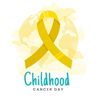 Flat childhood cancer day yellow ribbon