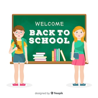 Flat children back to school background
