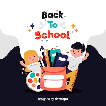 Flat children back to school background