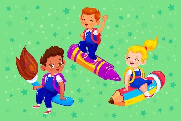 Плоские дети обратно в школу концепции