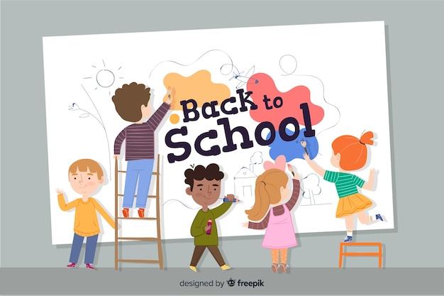 平らな子供たちが学校に戻る