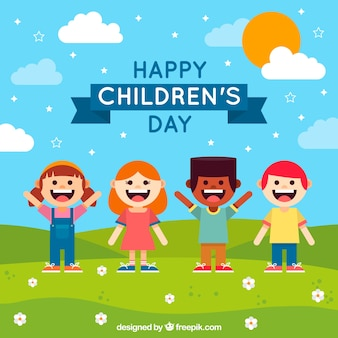 Flat children's day background
