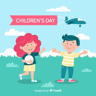 Flat children's day with cartoons