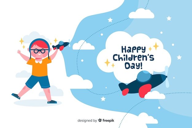 Flat children's day with child playing with planes