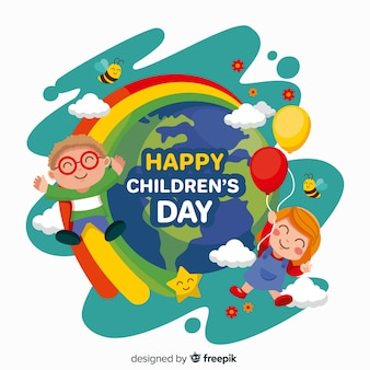 Flat children's day with kids and earth planet