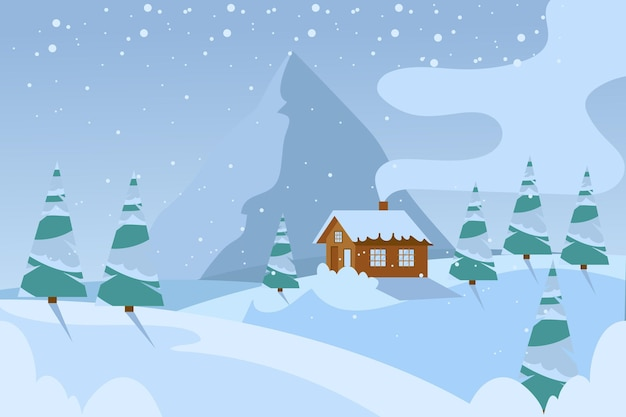 Flat chill winter landscape background