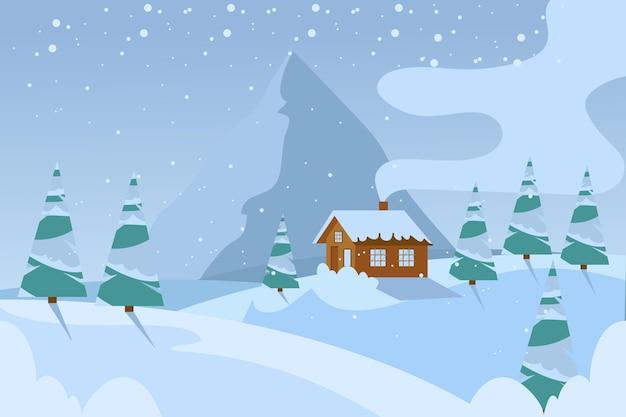 Плоский холодный зимний пейзажный фон