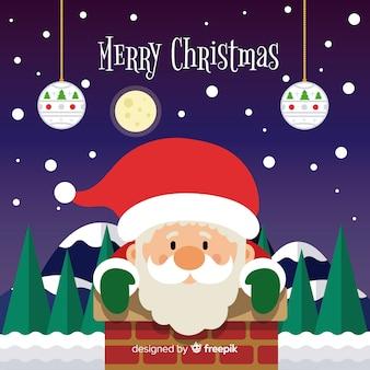 Flat chimney santa christmas background