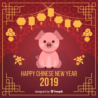 Flat chinese new year 2019 background