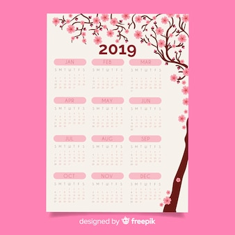 Flat chinese new year 2019 calendar