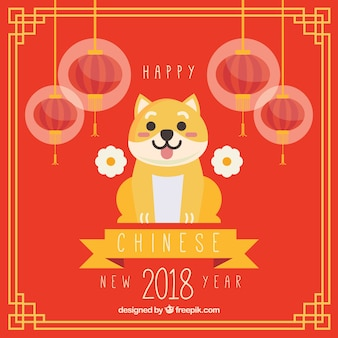 Flat chinese new year background with dog illustration