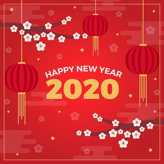 Flat chinese new year background