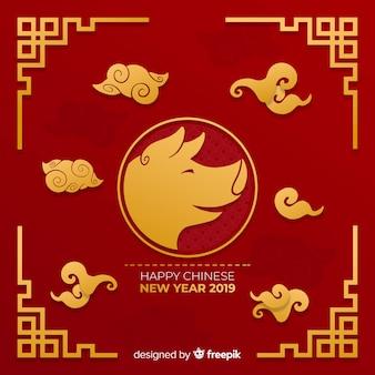 Flat chinese new year bakcground